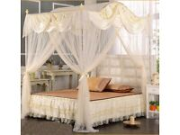 Beautiful luxury cream satin and lace double bed canopy and frame almost new £40