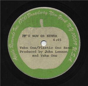 "Beatles John & Yoko 1972 Acetate Master "" It's Now or Never """