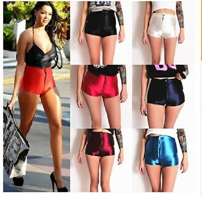 rts Hoher Bund American Glänzend Hotpants Lack-Optik (Disco-shorts)