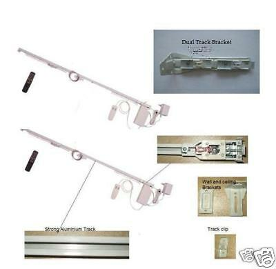 16' Remote Electric Motorized Window Curtain Dual Track for Sheers and Draperies