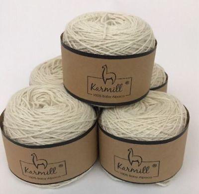 Alpaca Wool Skeins 100% Baby Alpaca Yarn Lot of 5 Natural White Color (100% Alpaca Wool Yarn)