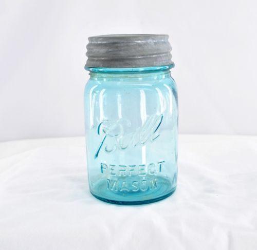 pint size blue mason jars ebay. Black Bedroom Furniture Sets. Home Design Ideas
