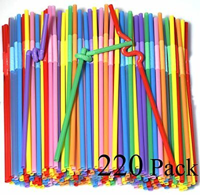 220 Pack 10.23 inch Tall Colorful Extra Long Flexible Drinki