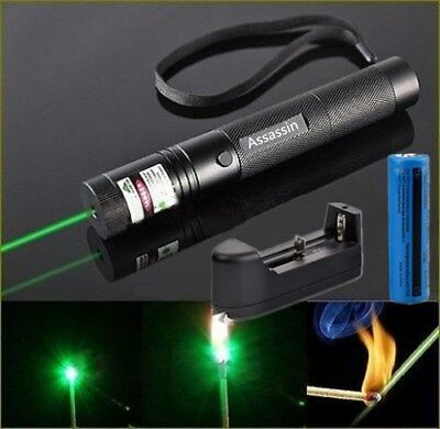 50Miles Assassin Green Laser Pointer Pen 532nm Pet Toy Visible Beam+Batt+Charger