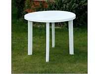 New round white plastic garden patio table with parasol holder slot