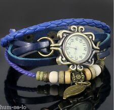 VINTAGE RETRO BEADED BRACELET LEATHER WOMEN WRIST WATCH - LEAF BLUE