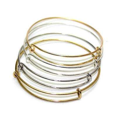 Wholesale Expandable Wire Bangle Bracelet Adjustable Gold Silver Tone Charms - Diy Wire Bracelet