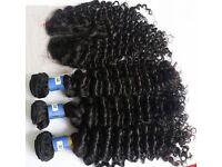 "100% 8A Brazilian Virgin Human Hair with closure 20"" cl 22""22""22"""