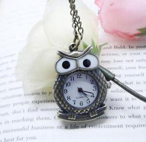 Owl necklace ebay owl clock necklaces mozeypictures Images