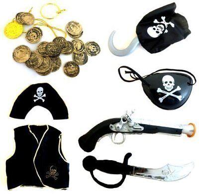 Piratenkostüm 28teilig Weste, Hut, Augenklappe, ,Pistole, Haken, Schwert, Gold