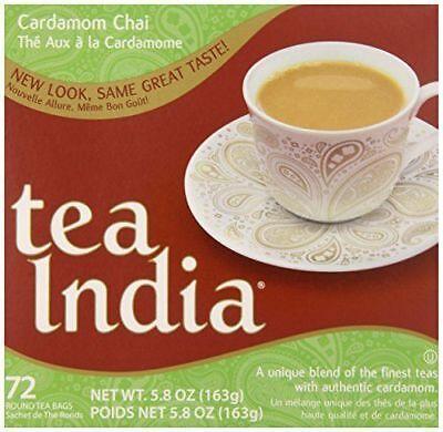 Cardamom Tea - Tea India Tea Bags, Cardamom Chai, 72 Count ELAICHI CHAI kardamom એલચી exp 2019