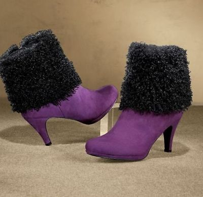 NEW WOMENS ASHRO ULTRAVIOLET AND BLACK MYSTERIE FAUX FUR BOOTIES BOOTS SIZE 8.5M