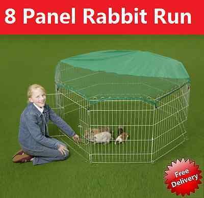 Large 8 Panel, Dog Puppy Rabbit Cage Run PlayPen, Guinea Duck Chicken Enclosure