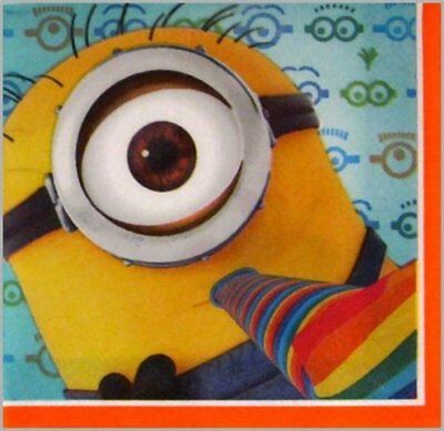 Despicable Me Minion Party Supply Dessert Small Napkins 16 Ct Cocktail Beverage ()