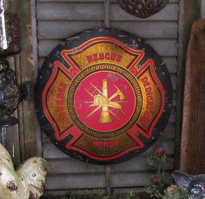Primitive Vtg Style Retro Maltese Cross Firemen Rescue Round Dome Metal Tin Sign