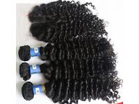 100% 8A Brazilian Virgin Human Curly Hair Weave Extensions with closure 400g