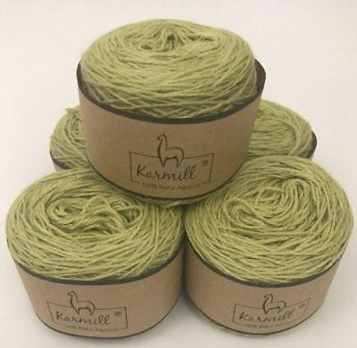 Alpaca Wool Skeins 100% Baby Alpaca Yarn Lot of 5 Celery Green Color 7805 - Baby Green Color