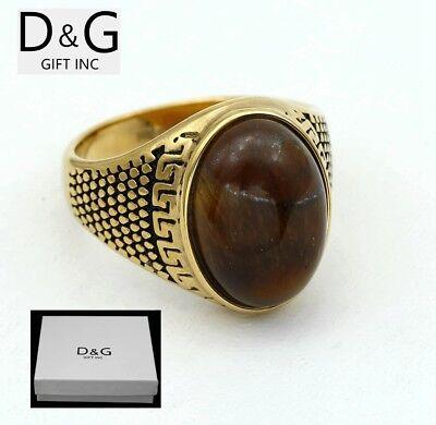 DG Men's Stainless-Steel Gold Brown Tigers Eye Ring Size,8.9,10,11,12 13 + Box