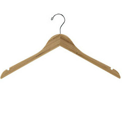 Dress Hanger Wooden Bamboo 17 Inches With Silver Hook - Case Of 50
