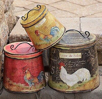 New French Country Black Red Must Set 3 Rooster Chicken Canister Tin With Lid