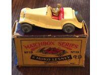 1960s Matchbox Lesney No 19. MG Midget TD Sports Car / Box All original