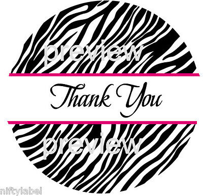 Black Zebra Stripe Pink Trim 3 Thank You Sticker Labels - Laser Printed