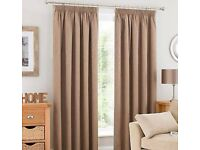 Quality Dunelm Latte Beige BLACKOUT Pencil Pleat curtains w 168cm (66 inch) x 182cm (72 inch) drop