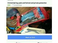 Cricket set, bat helmet knee guards and private protection
