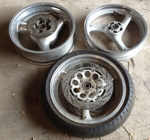 Polished GSX-R 750/1100 Wheels with Rotors 1990-1996
