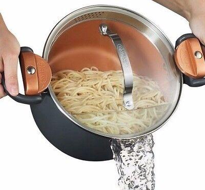 Gotham Steel Nonstick Multi Pasta Pot with Built in Easy-Lock Strainer Lid -NEW