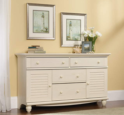 Details About Wood Bedroom Dresser Large White 4 Drawers Plus 2 Louvered  Cabinet Doors Rustic