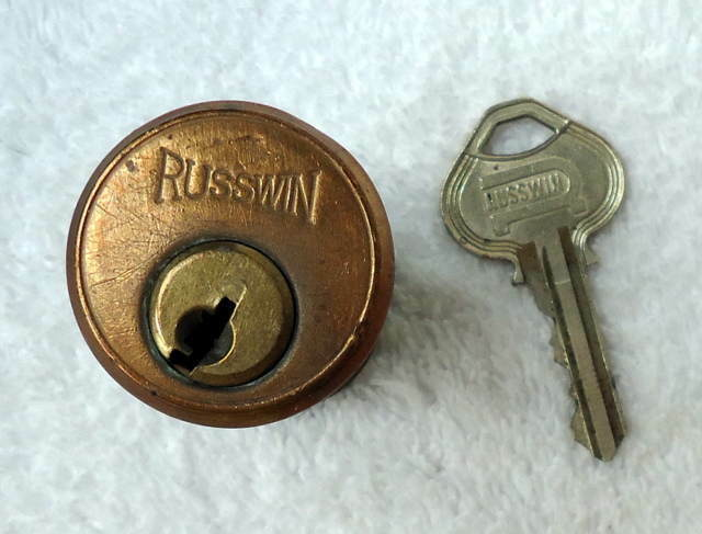 VINTAGE BRASS RUSSWIN MORTISE CYLINDER LOCK HOUSING UNIT WITH KEY
