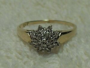 "10kt yellow gold ""Diamond Star/Flower Cluster"" Engagement Ring"