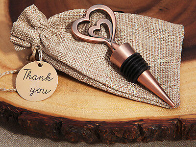 1 x Copper Vintage 2 Hearts Wine Bottle Stopper - NEW - Wedding Favours and Gift