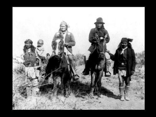 1886 GERONIMO Surrender PHOTO,Apache Indian Chief, General George Crook Capture