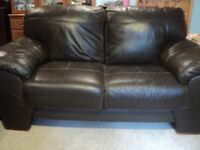 2 x 2 seater Harveys Brown Leather Dark Brown Sofas in vgc