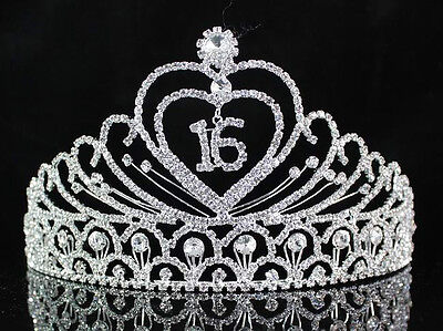 SWEET SIXTEEN 16 BIRTHDAY PARTY AUSTRIAN RHIESTONE TIARA CROWN HAIR COMBS T1629