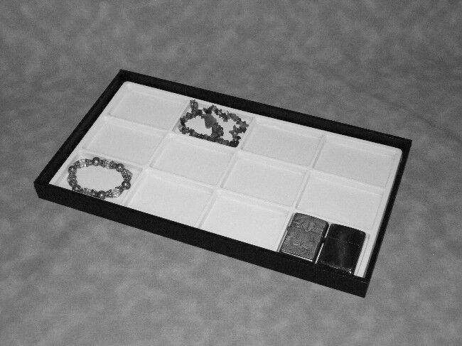 LARGE JEWELRY DISPLAY TRAY WITH 12 SLOT WHITE INSERT