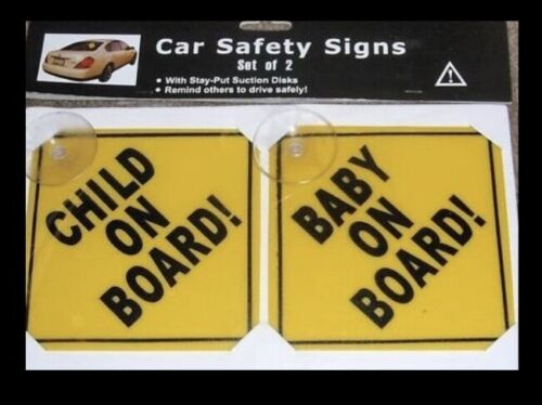 (Set of 2) Baby On Board & Child On Board Car Safety Signs