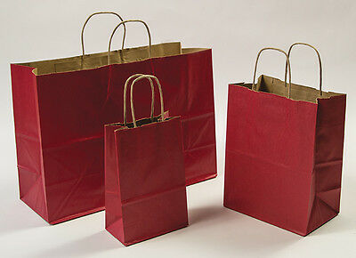 Mixed Pack 3 Sizes Red Paper Retail Gift Rope Handle Tote Shopping Bags