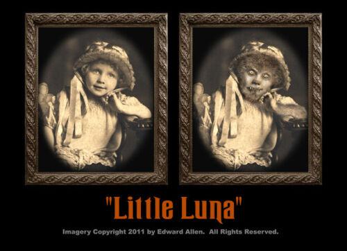 Little Luna 5x7 Haunted Memories Changing Portrait Halloween Lenticular Werewolf