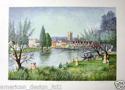 """Jeremy King """"Henley Regatta"""" Hand Signed Fine Art River Boat Make Offer"""