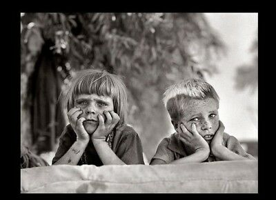 1936 Oklahoma DUST BOWL KIDS PHOTO,Great Depression Drought Dirty Migrants Calif