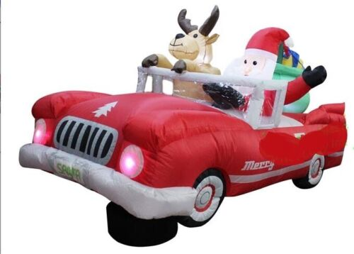 CHRISTMAS SANTA ANIMATED CAR REINDEER 8 FT  INFLATABLE AIRBLOWN LOW RIDER