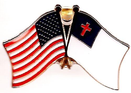 LOT OF 12 Christian Friendship Flag Lapel Pins - Christian Crossed Flag Pin