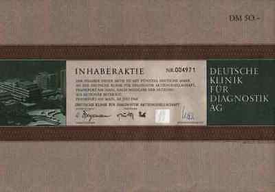 Klinik für Diagnostik DKD 1968 Wiesbaden Frankfurt Rhön 50 DM Gründeraktie DEKO