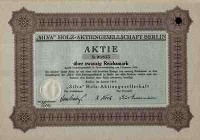 SILVA Holz Terrain 1925 Berlin Friedrichstrasse Loewenstein 20 RM Aktie SELTEN