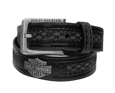 Harley-Davidson Mens Woven Embossed Pattern with B&S Concho Black Leather Belt Black Leather Woven Belt