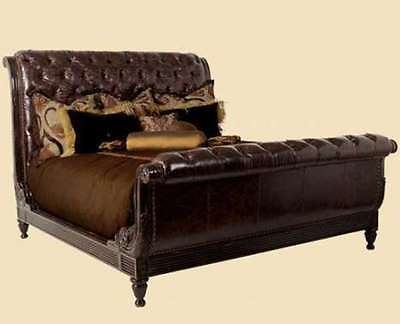 marge carson furniture martinique button tft leather upholstered king sleigh bed ebay. Black Bedroom Furniture Sets. Home Design Ideas