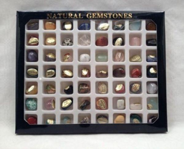 Steinset Natural Gemstones, Set mit 56 Edelsteinen incl. Heilstein Broschüre